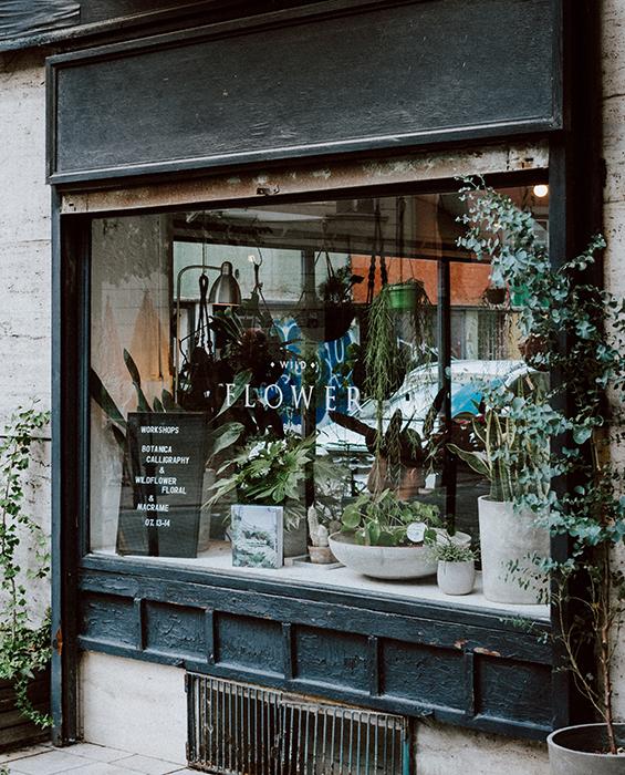 utsidan av blomsterbutik