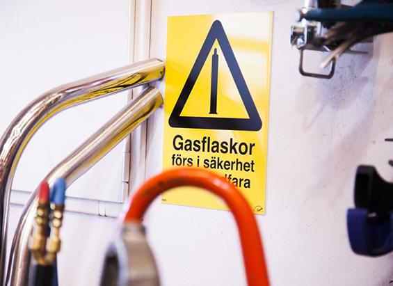Varningsskylt för gasflaskor